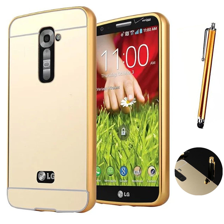 LXHGrowH Funda Espejo para LG G2 Aluminio Metal Carcasa Color Oro