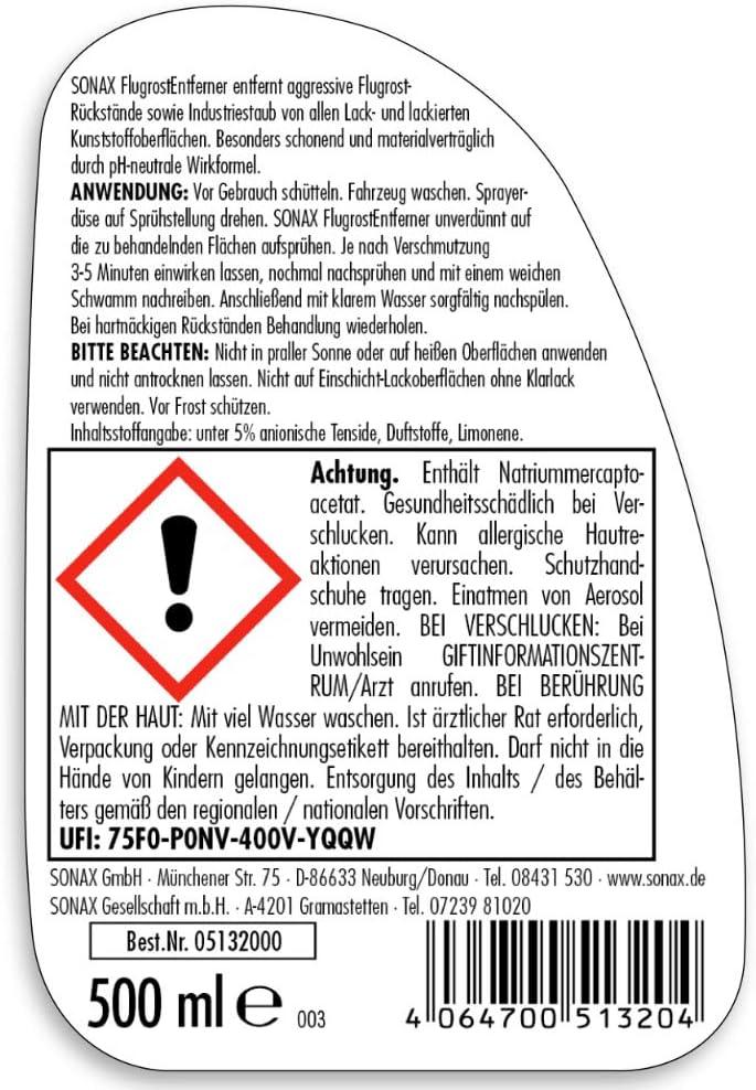 Sonax Flugrostentferner 500 Ml Entfernt Aggressive Flugrost Rückstände Sowie Industriestaub Von Allen Lack Und Lackierten Kunststoffoberflächen Art No 05132000 Auto