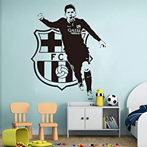Leo Messi Football Players Wall Decals - Barcelona Soccer Player Decals - Athlete Sport Messi Barcelona Wall Sticker Vinyl - Kids Room Decor Custom Color