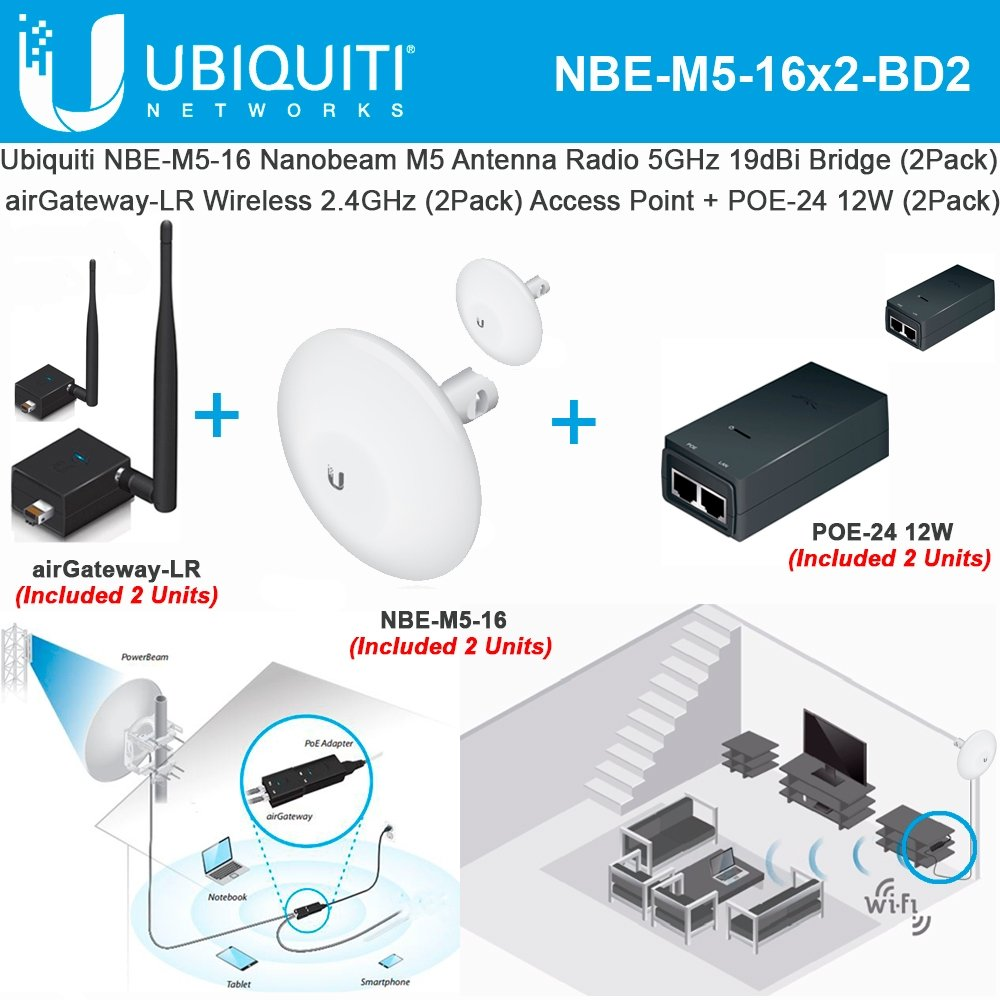 Ubiquiti NBE-M5-16 (2Pack) Nanobeam Antenna + airGateway LR (2Pack) Access Point