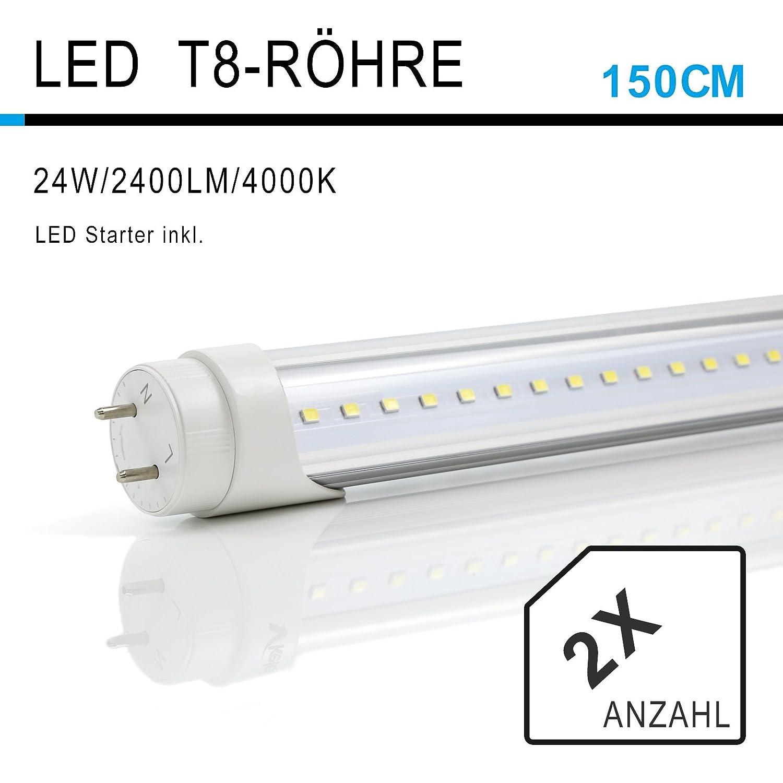 2 Pack Vkele Led T8 Fluorescent Tubes 5ft 150cm Aluminum Heatsink Lamp Lights Starter Daylight Natural White 4000k 23w Neon 58watt Replacement For Luminaire Bulb