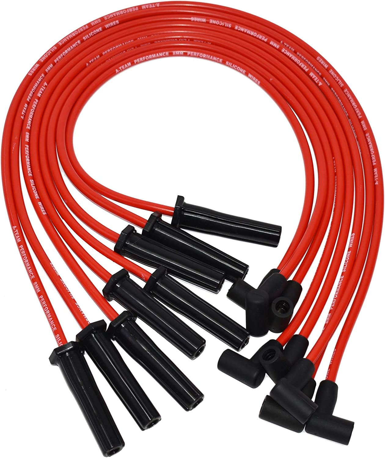 A-Team Performance 8.0mm Red Silicone Spark Plug Wires BBC Big Block Compatible With Chevy Chevrolet GMC Straight Boot Wires 396 402 427 454 502 572