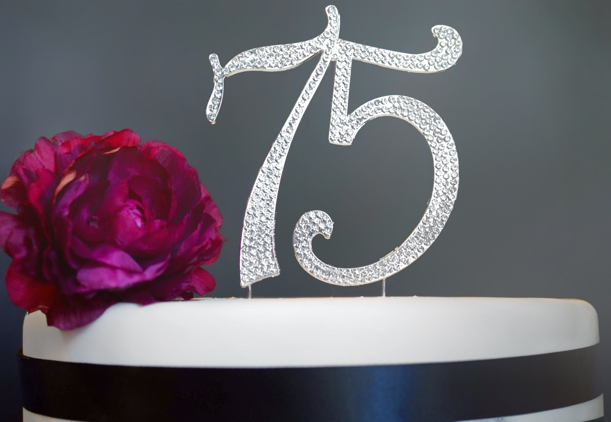 75 Rhinestone Birthday Cake Topper | Premium Sparkly Bling Crystal Rhinestone Diamond Gems | 75th Birthday or Anniversary Party Decoration Ideas | Perfect Keepsake (75 Silver) by Crystal Creations