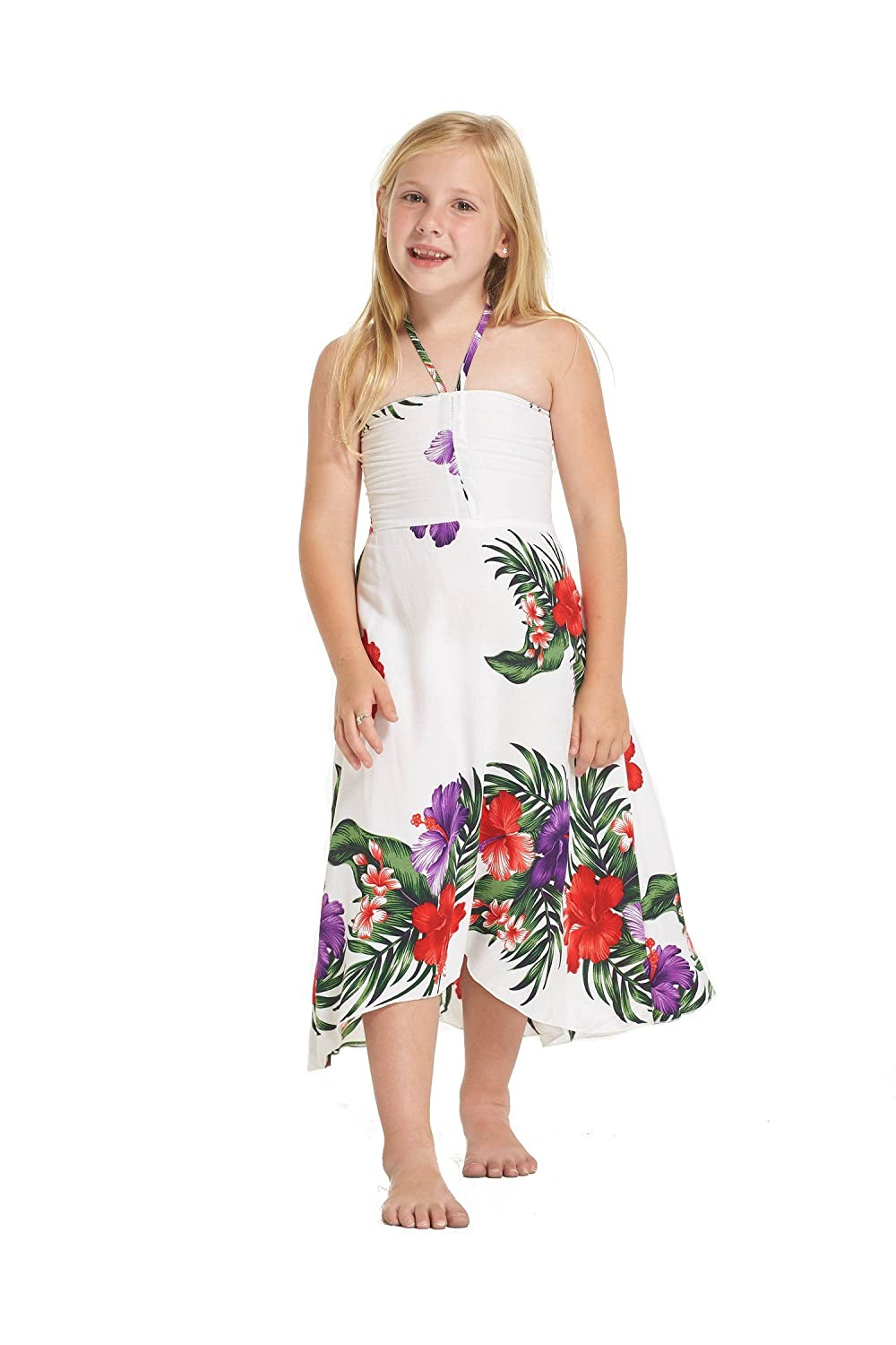 Girl Elastic Ruffle Hawaiian Luau Dress in White Floral Aloha Fashion 027704