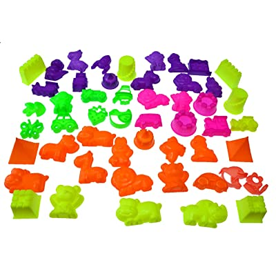 50 Piece Deluxe Sand Molds Set - Safari Animals, Mini Castles and Geometric Shapes (Sand Not Included): Toys & Games