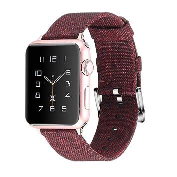 Moretek Correa para iWatch Series 4 / Series 3 / Series 2 / Series 1, Correa de Lona Reemplazo Wristband Pulseras de Repuesto Bandas para Apple Watch ...