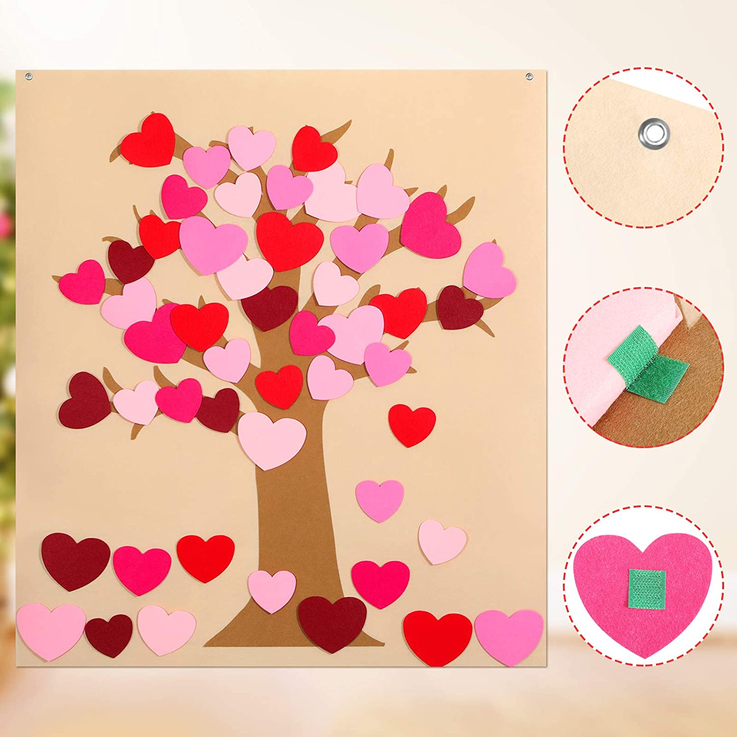 Boao 50 Pieces Detachable Heart Ornaments DIY Felt Valentine Tree Set with 4 Transparent Wall Hooks Valentines Day Hanging Decoration Door Wall Valentine Party Favors Supplies Fun DIY Toys