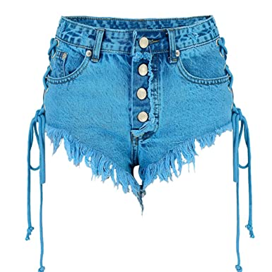 039f21b8c3 Image Unavailable. Image not available for. Color: LIYT Women's Fashion  Ripped Hole Tassel Lace-up High Waist Denim Jean Shorts