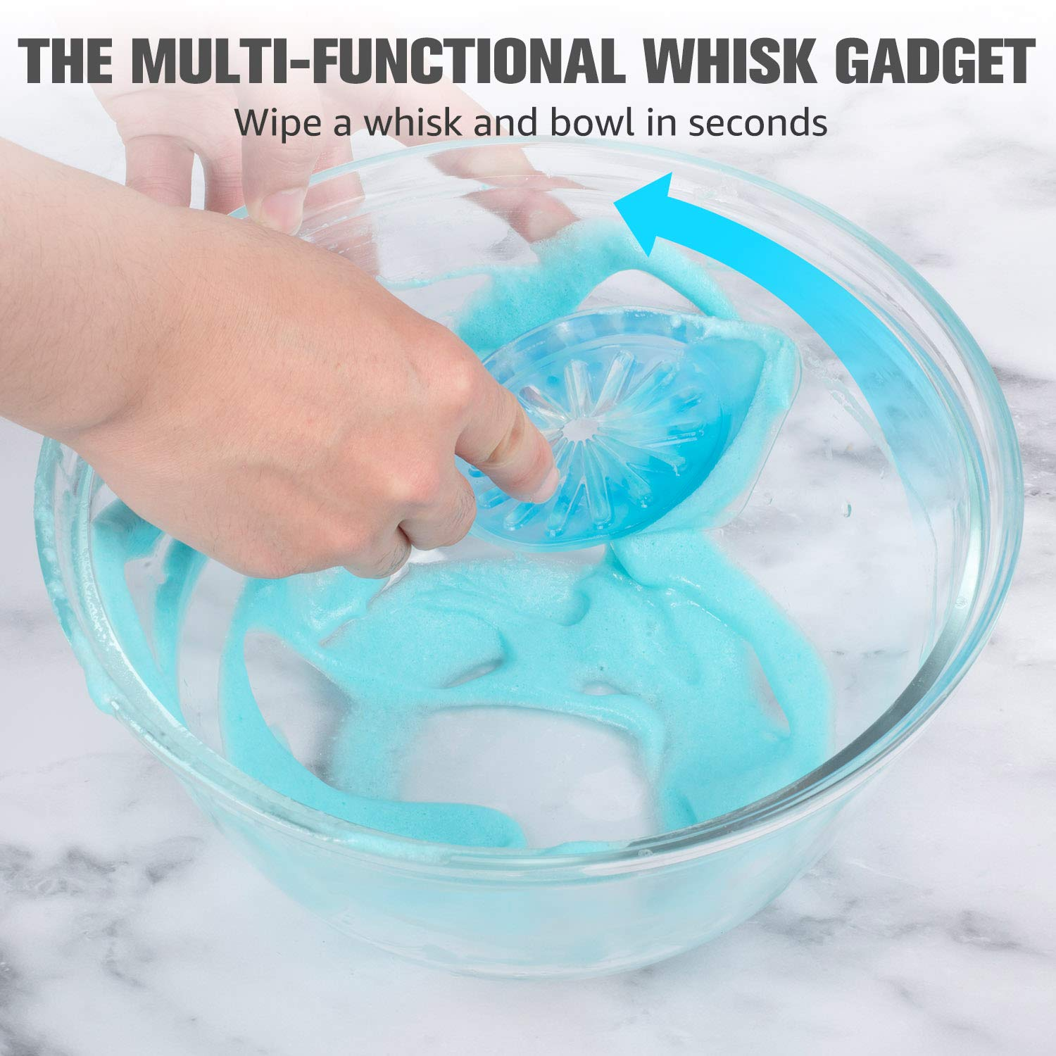 Smart Multi-use Kitchen Baking Gadget tools beater Whisk With Wiper,Wipe and Clean a Whisk Easily,Stainless Steel Whisk with Scraper,Beater Wipe Guard When you Blending