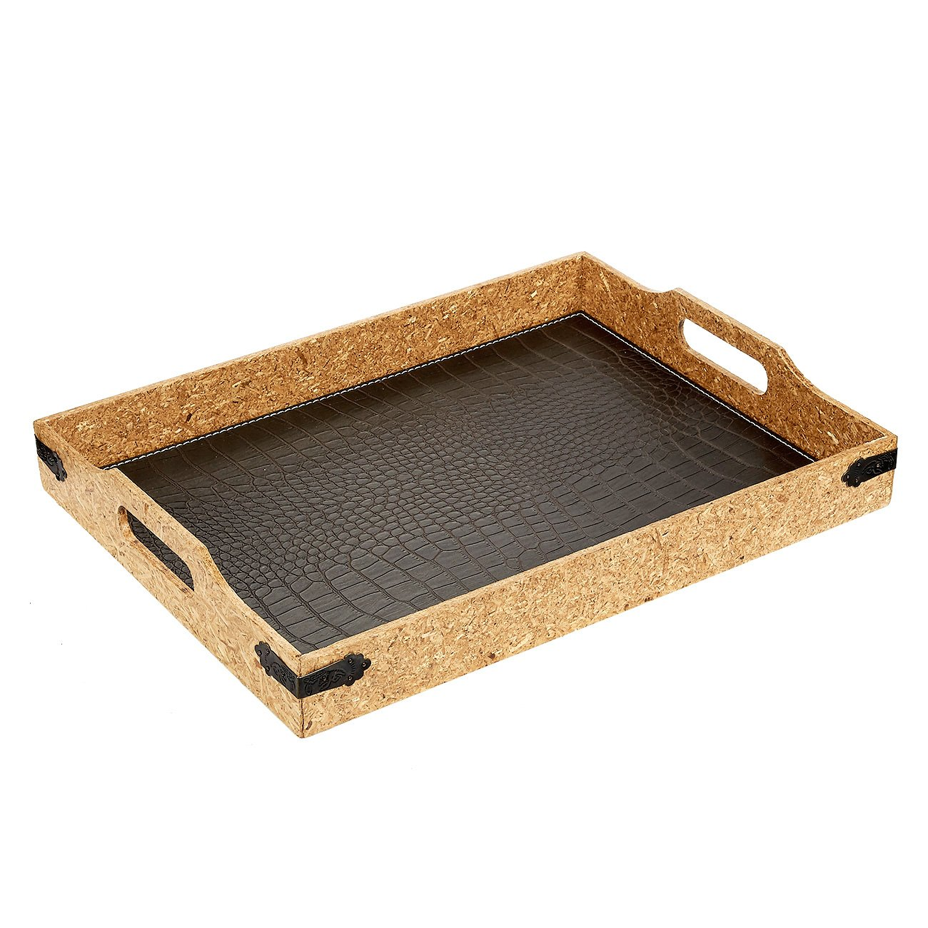 Juvale Serving Tray - Breakfast In Bed Decorative Cork Tray with Handles, Alligator Leatherette, 15.7 x 11.8 x 2.5 Inches