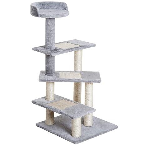 PawHut Rascador para Gatos Árbol Rascador Centro de Actividad 3 Plataformas para Arañar 48x48x101cm Tablero de