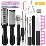 Professional Pedicure Tools Set 18 in 1, AGPTEK Foot Care Kit Stainless Steel Foot Rasp Foot File Callus Remover for…