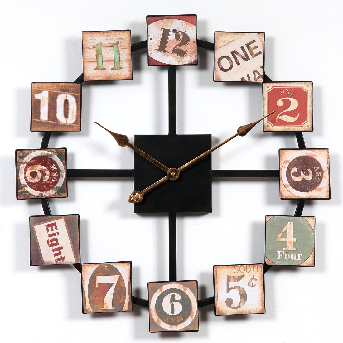 BOROK Wanduhr Vintage Holz Wanduhr Lautlos Metall Uhr Wall Clock 60  60  2cm