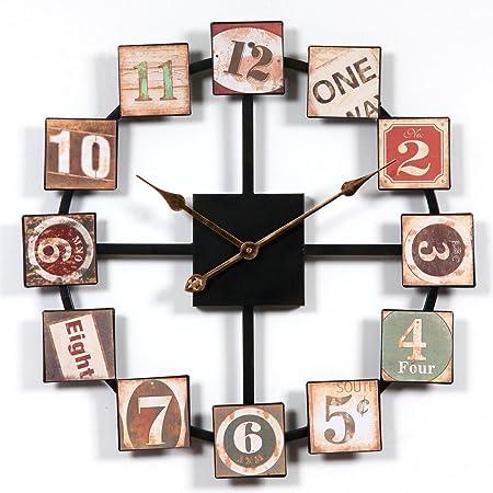 Reloj de Pared Silencioso, 60 cm Grande XXL de Metal, Modernos Reloj Decoración Adorno para Hogar Salon Oficina Comedor Habitación: Amazon.es: Hogar