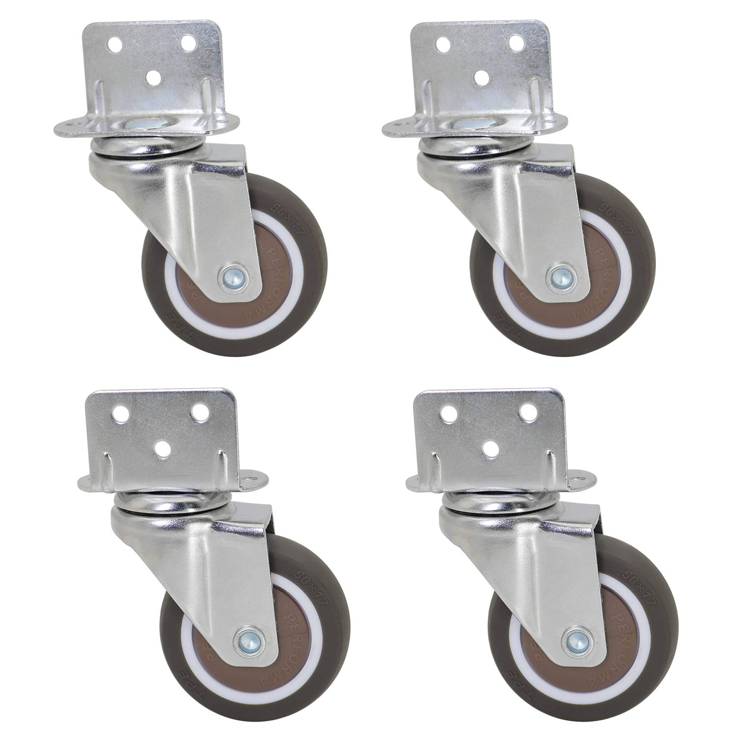 4 Pack Total Load Capacity 190Lbs//87Kg for Narrow Install Place of Furniture Dr.Luck 2 Inch L-Shaped Plate Swivel Caster Ball Bearing L-Clip Side Mount Plate Thermoplastic Rubber Wheel Metal Housing