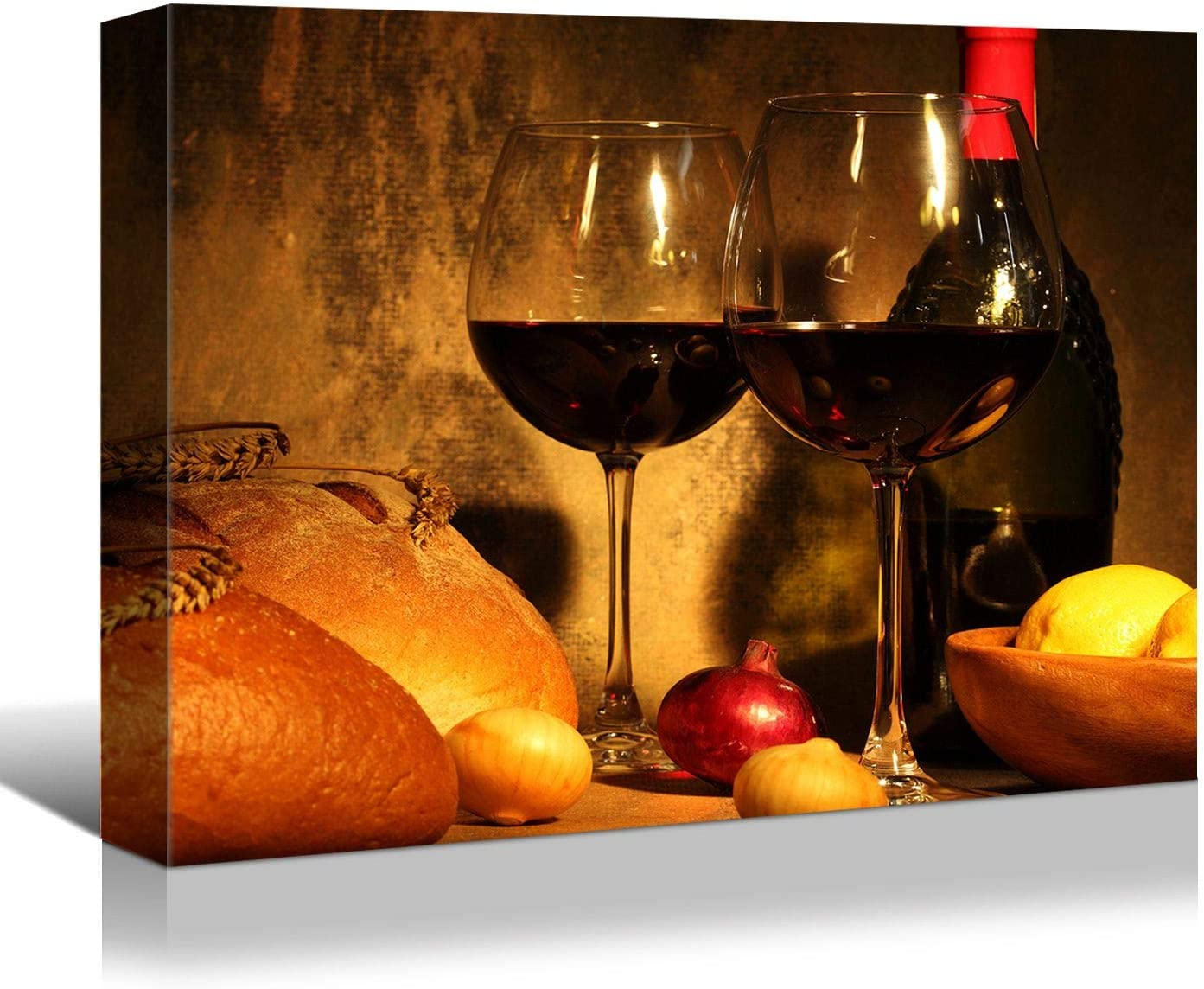 Looife Kitchen Still Life Canvas Wall Art, 16x12 Inch Gallery Wrapped Wine Cup with Bread Picture Prints Wall Decor, Food Art Deco for Dining Room and Bar