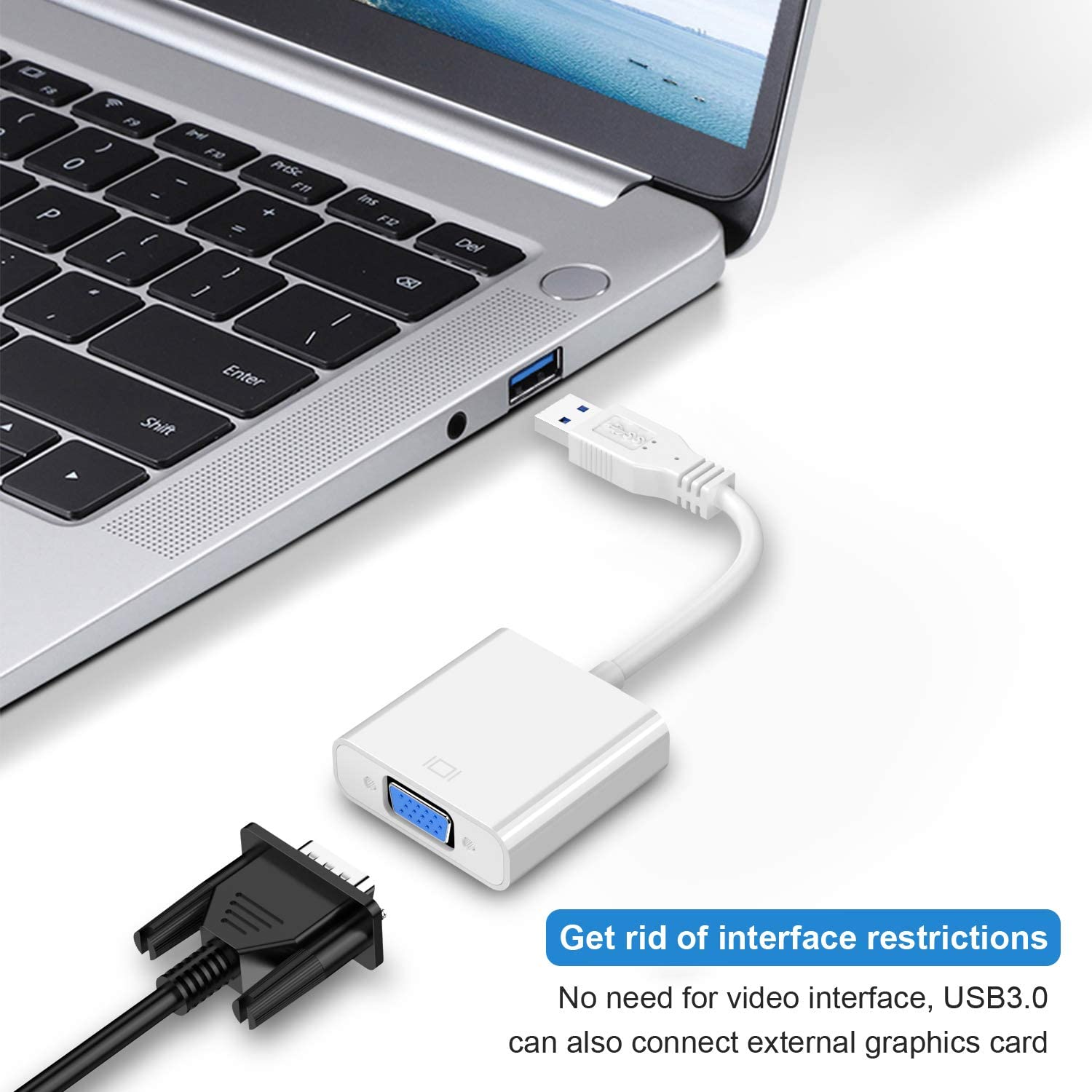 Not Support Chromebook 1080P Multi-Display Video Converter for Laptop PC Desktop to Monitor//Projector//TV USB 3.0 to VGA Adapter