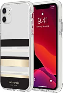 kate spade new york Park Stripe Case for iPhone 11 - Defensive Hardshell with Cream Bumper