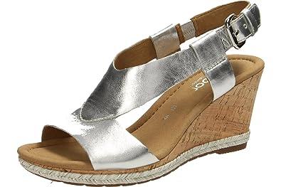Gabor Shoes Comfort, Sandales Bout Ouvert Femme, Argent (Silber 13), 35.5 EU