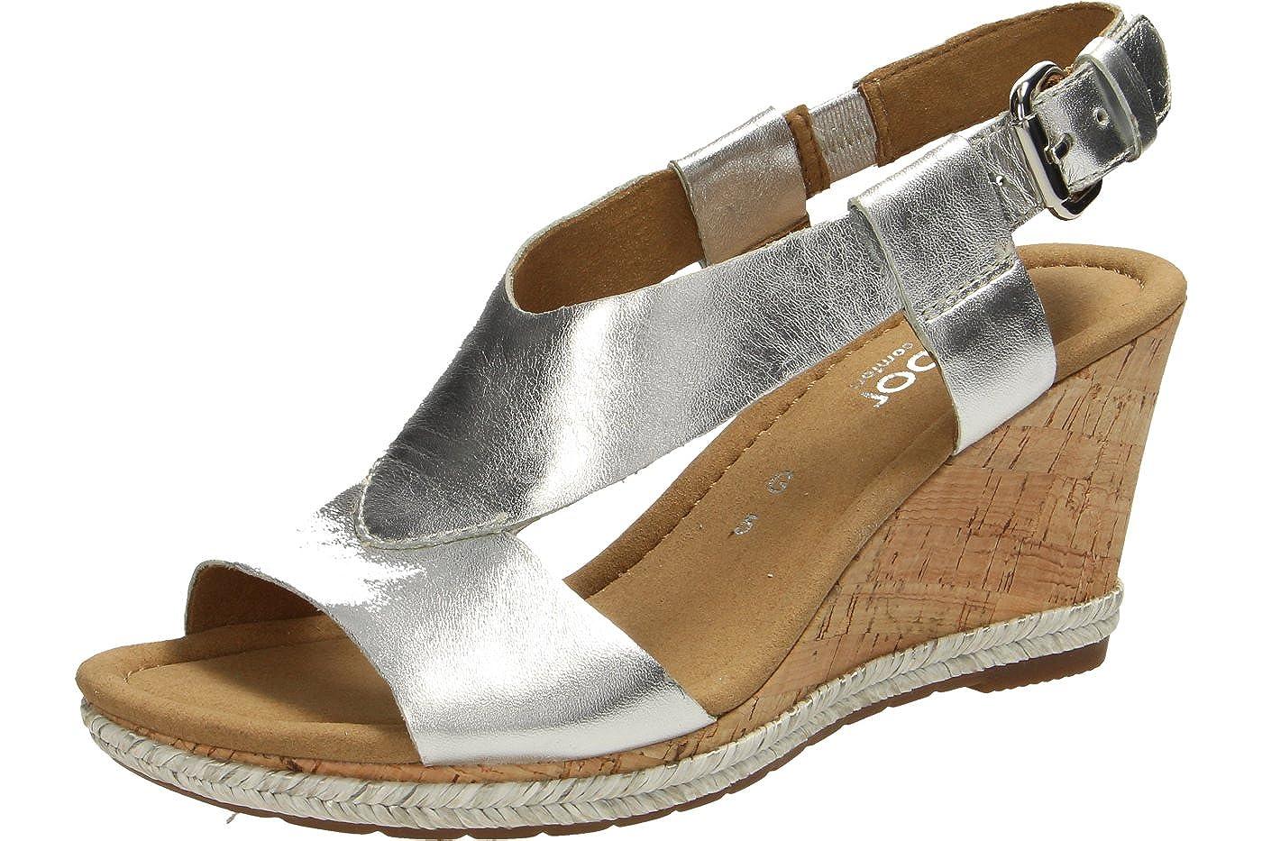 Gabor Comfort Damen Sandaletten Sandaletten Damen Milano 62.821.10 Silber 263494Silber 112472