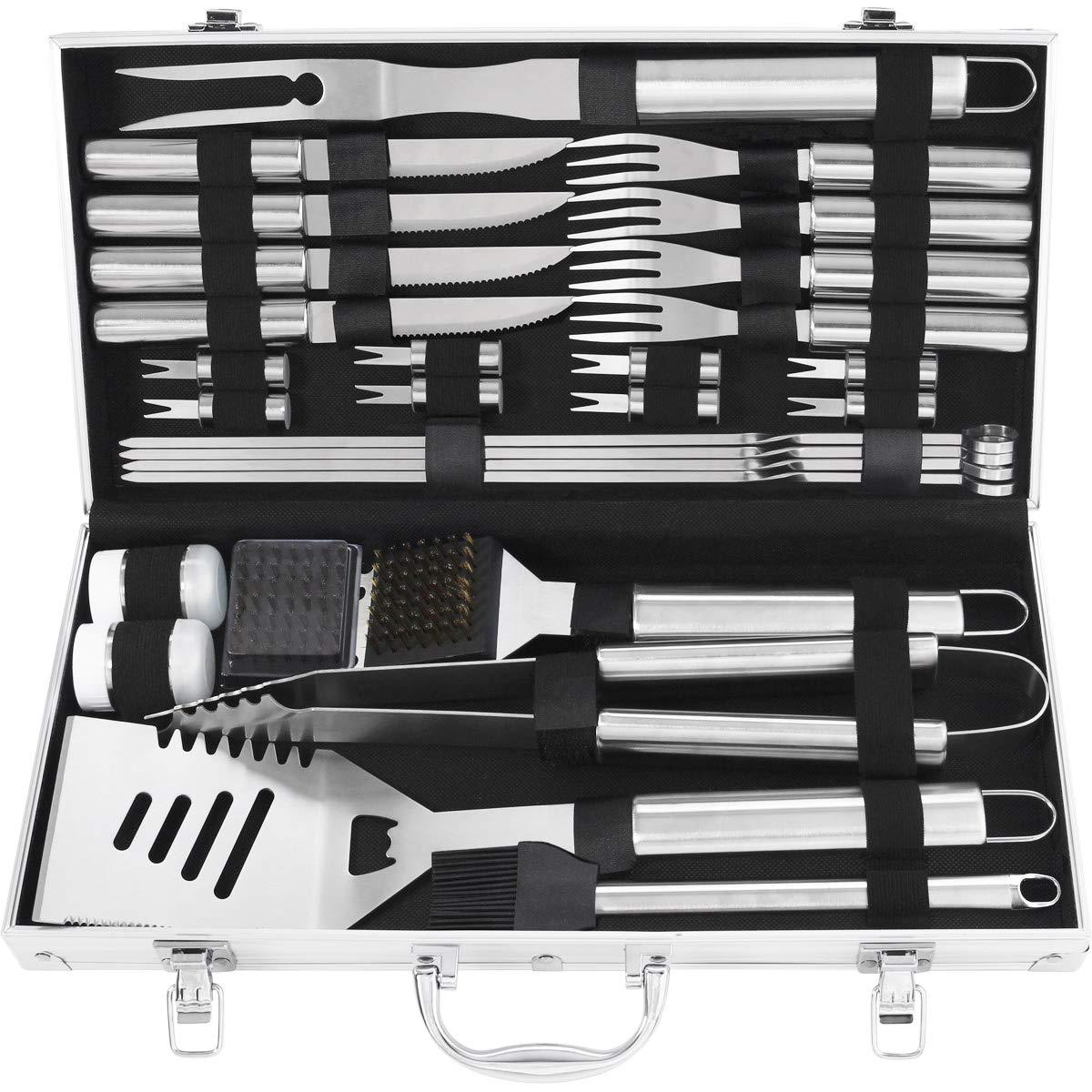grilljoy 29PCS BBQ Grilling Tools Set - Heavy Duty Stainless Steel Grilling Accessories with Barbecue Storage Case for Travel/Camping/Kitchen. Perfect BBQ Grill Utensil Gifts for Men Women on Birthday by grilljoy