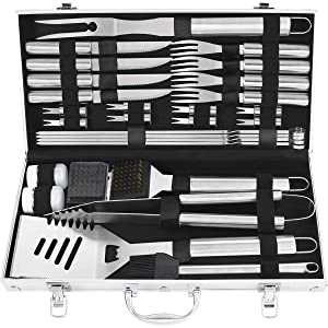 Grilljoy 29PCS BBQ Grilling Tools Set - Heavy Duty Stainless Steel Grilling Accessories with Barbecue Storage Case for Travel/Camping/Kitchen. Perfect BBQ Grill Utensil Gifts for Men Women on Birthday
