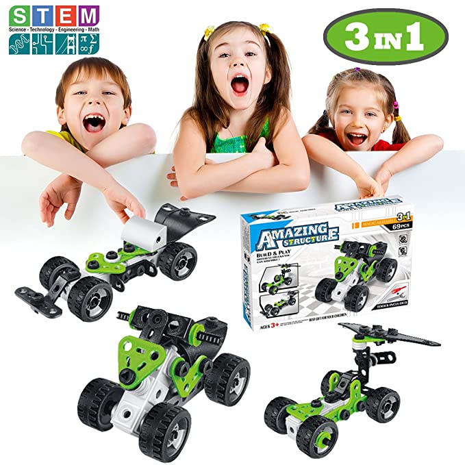 DEVAN Take Apart Fun, 69pcs 3-in-1 Model Building Blocks Set ,STEM Educational Construction Engineering Toy for 3, 4 and 5+Year Old Boys & Girls. Great Creative Fun Toy Gift for Kids.