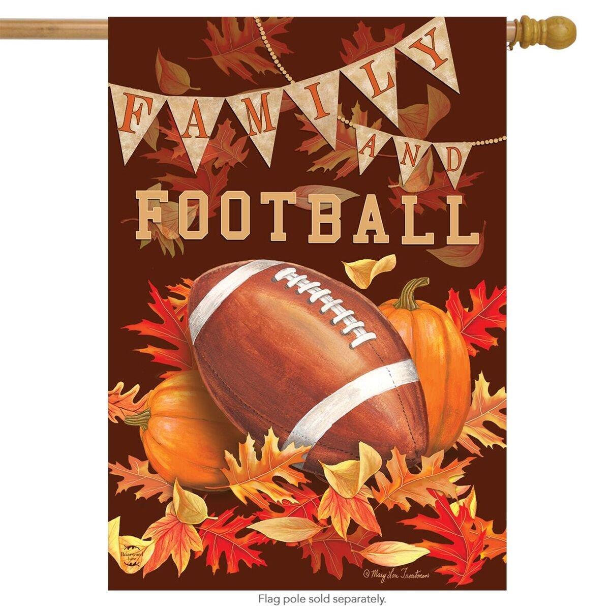 "Briarwood Lane Family & Football Fall House Flag Autumn Leaves Sports 28"" x 40"""