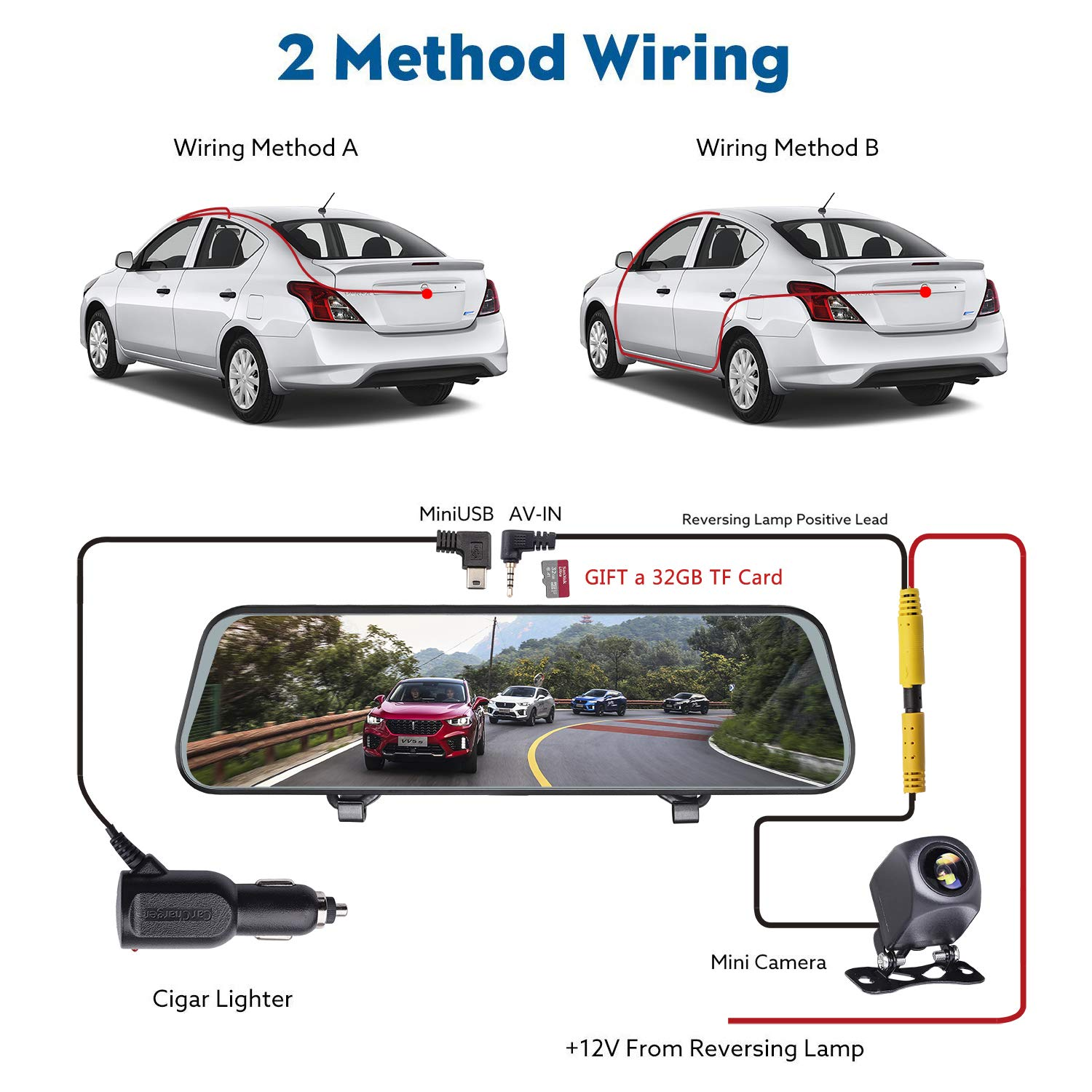 Mirror Dash Cam Reversing Camera Night Vision 1080P HD 5 Inch Touch Screen Dash Camera Front and Rear Dashcam with G-Sensor 32G SD Card Include Parking Monitor QuanJu