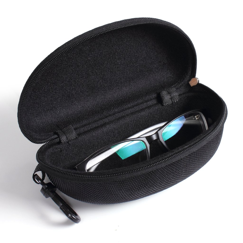 ewinever TM 1pcs Black Zipper Clam Shell Hard Sunglasses Case Box Eyeglass Pouch Bag MRLAK12A