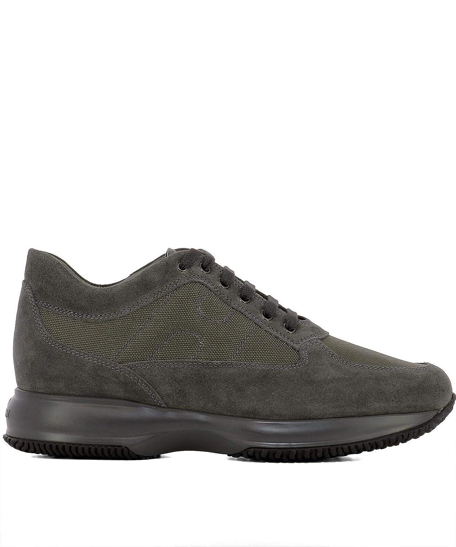- Hogan Men's HXM00N00010B2A374R Grey Leather Sneakers