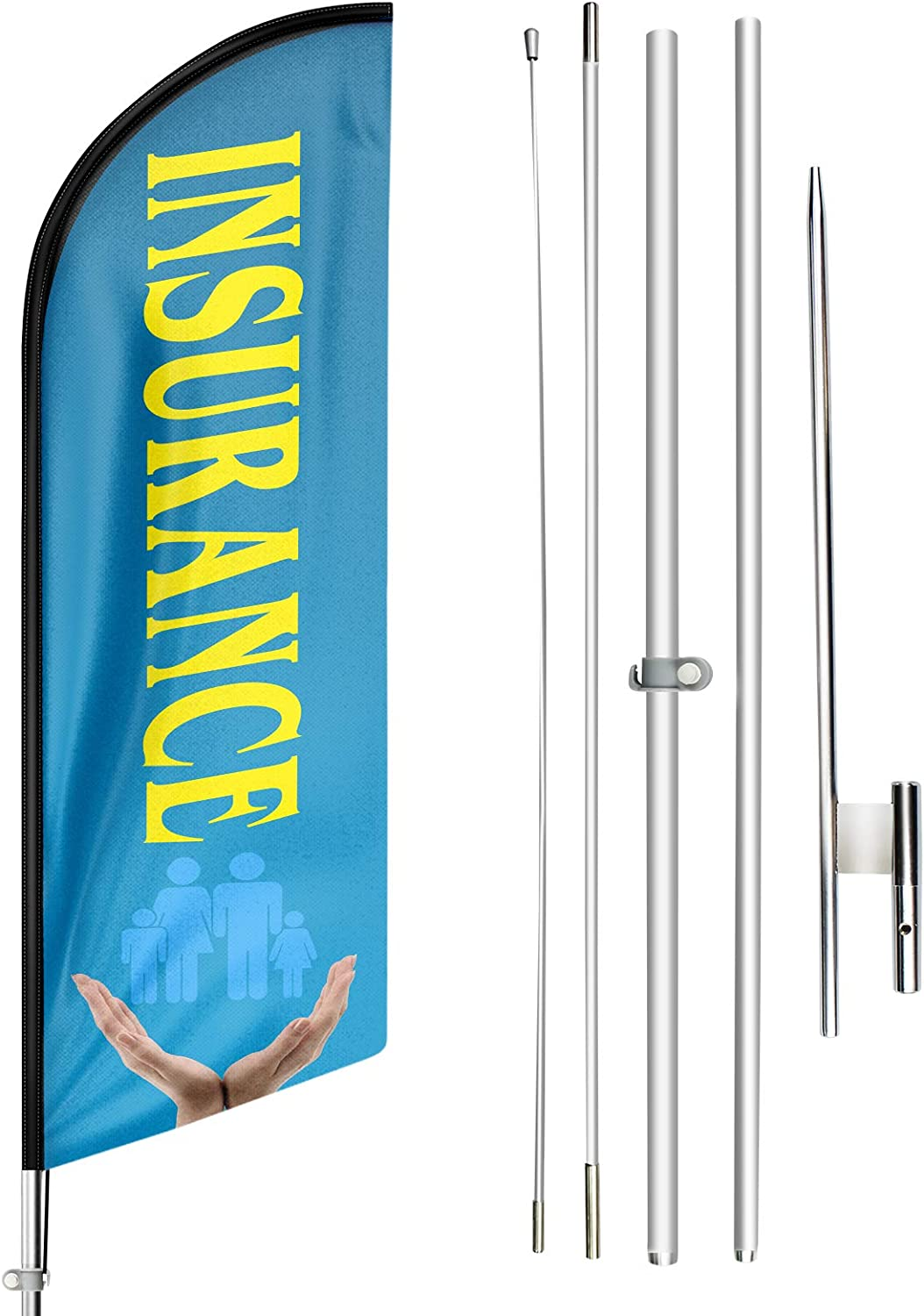 FSFLAG Swooper Flag and Pole Kit - Open Flags for Businesses -11 Ft Feather Flag for Insurance - Advertising Feather Banners Signs with Flag Pole Kit and Ground Stake