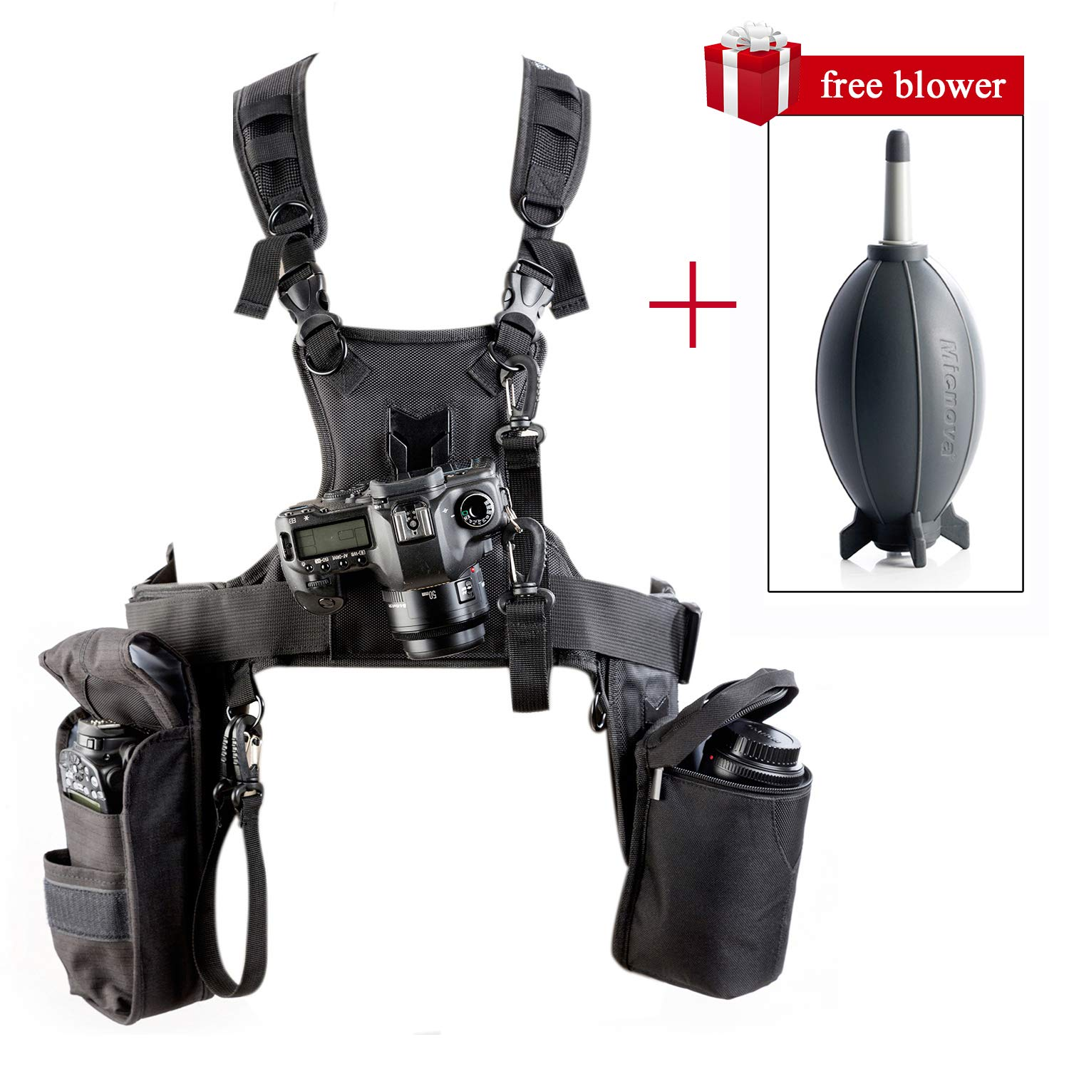 Triple Camera Harness, Micnova Carrying Chest Vest System with Side Holster for Smartphone Lens Canon Nikon Sony DV DSLR Camcorder Tripod Stand Wedding Journalism YouTube Vlog Livestream by Micnova