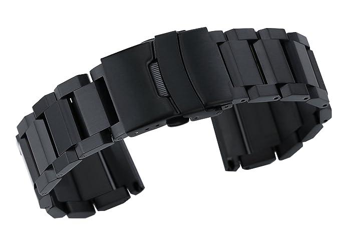 20mm mate negro 316L acero inoxidable reloj de la correa de ...