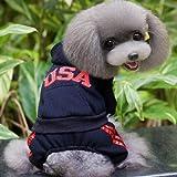Outfun 犬の冬服 犬洋服 パーカー 犬コート ジャケット 防寒 全4色 (ブラック, M)
