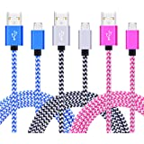 Android Charging Cable, CIQILY 3Pack 6FT Braided Nylon Cable Micro USB 2.0 Charge Cable Sync Charging Cord for Samsung Galaxy S7 Edge/S6/S4, Note 5/4, HTC, Google, Nexus, Sony, Nokia, LG, MP3, Tablet