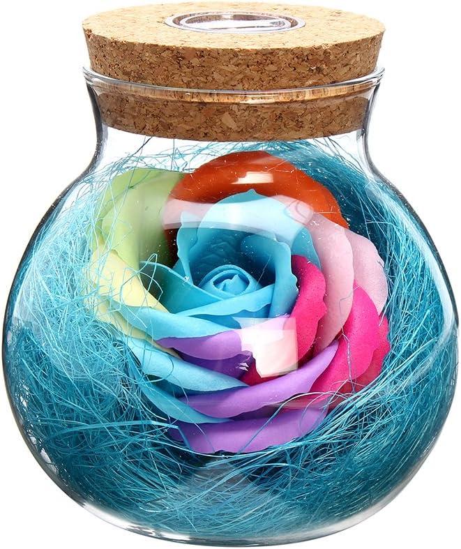 vorcool Eternidad Flores Botella LED Luz nocturna botellas de cristal (con mando a distancia Buena regalo para San Valentín, el día de la Madre, aniversarios, cumpleaños Boda (Azul)