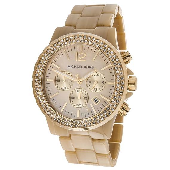 Micheal Kors MK5558 - Reloj cronógrafo de cuarzo para mujer con correa de plástico, color beige: Michael Kors: Amazon.es: Relojes
