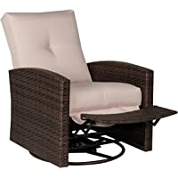 Outsunny Deluxe Swivel Rattan Wicker Sofa Chair Reclining Lounge Outdoor Patio Furniture with Cushion, Brown/Cream White