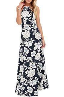 b995906ac5 Romacci Sexy Women Maxi Dress Halter Neck Floral Print Sleeveless Summer  Beach Long…