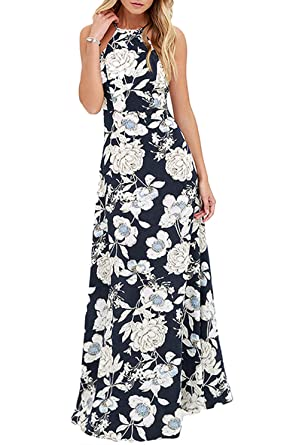 4630d07054 Romacci Sexy Women Maxi Dress Halter Neck Floral Print Sleeveless Summer  Beach Long Slip Dress S-5XL