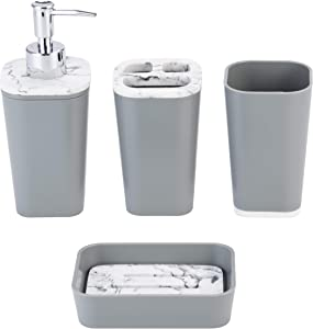 KRALIX 4-Piece Bathroom Set, Accessories Includes Decorative Countertop Soap Dispenser, Dish, Tumbler, Toothbrush Holder Grey
