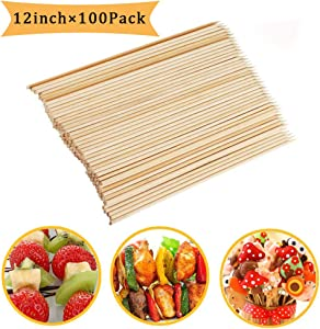 Fu Store Bamboo Skewers 12 Inch Sticks for Barbeque Fruit Kebab Marshmallow Chocolate Burgers Cocktails Buffets Grilling Party Fondue Φ=4mm (100 PCS)
