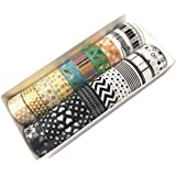 edgeam Lot de 20 Ruban Adhésif Washi Tape Masking Tape Ruban décoratif