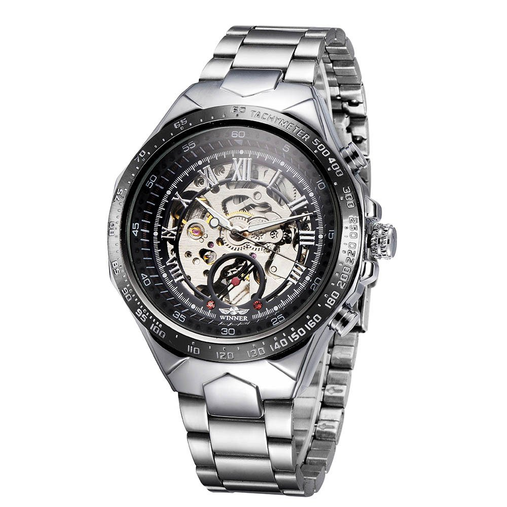 Romacci Men Mechanical Watch Semi Automatic Big Dial Hand-Winding Business Men Wristwatch