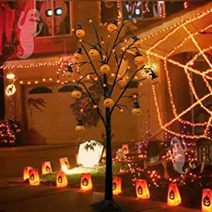 Twinkle Star 4FT Halloween Decorations Black Spooky Tree, Glittered with 48 LED Orange Lights &12 Pumpkins, 24V 3.6W Low Voltage Lighted Artificial Tree Decor for Indoor Holiday Party All Saints Day