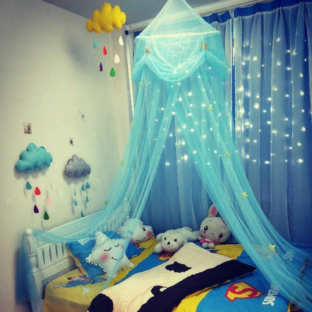 Samber Round Star Dreamy Children Hanging Lace Mosquito Net Canopy Curtain, Princess Queen Mosquito Net Bed Tent/Pink-Purple