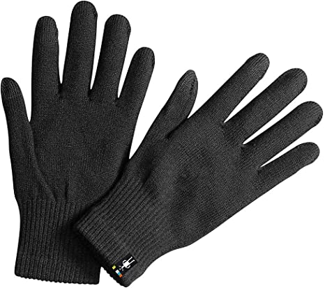 "Mens Cozy Glove Touchscreen Size//Small//Medium 6/""W Blk Wool Nylon Poly Elastane"