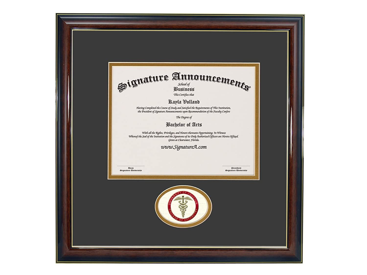 Signature Announcements University-of-Houston-College-of-Optometry Sculpted Foil Seal Graduation Diploma Frame 16 x 16 Gloss Mahogany with Gold Accent