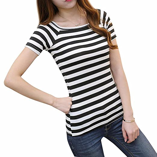 DondPO Womens Short Sleeve Casual Black and White Strip Blouse Shirts Women Slim Round Neck Short
